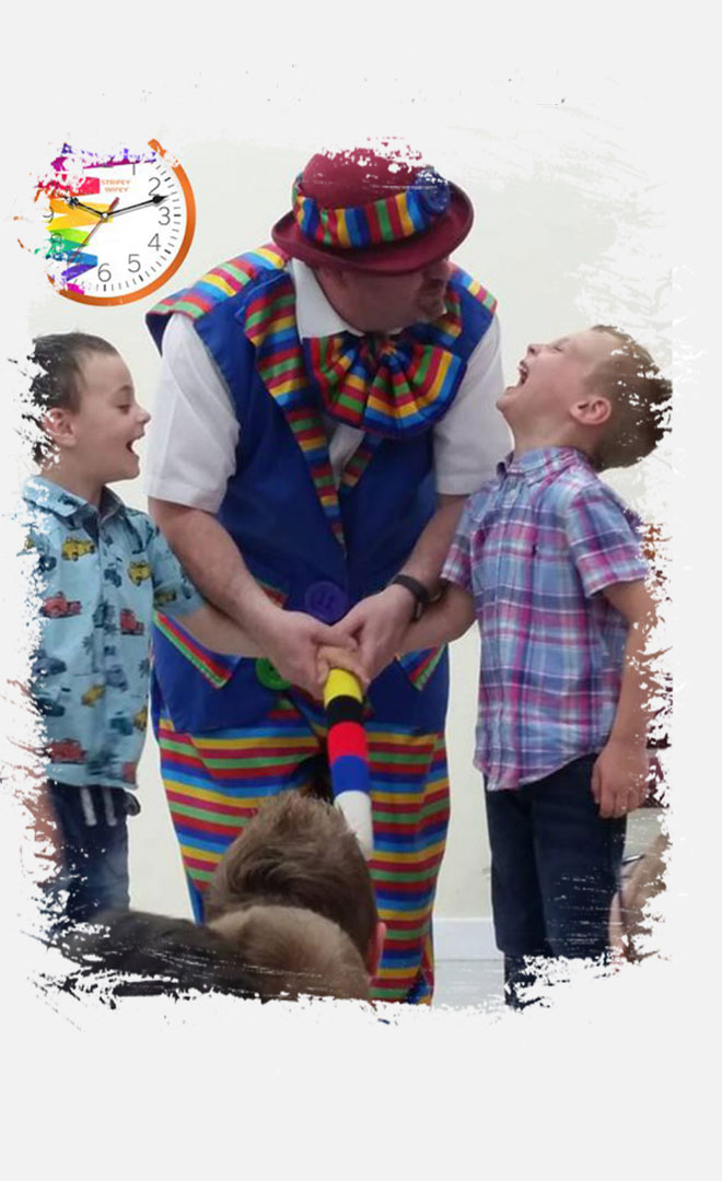 Two Boys enjoying a joint birthday party with Stripey Wipey